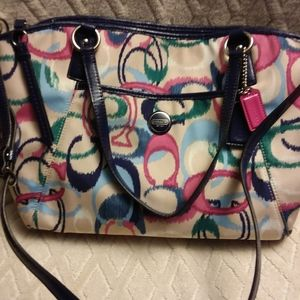 Coach ikat scribble design bag